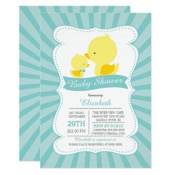 Cute Mom Baby Ducks Neutral Boys Baby Shower Invitation