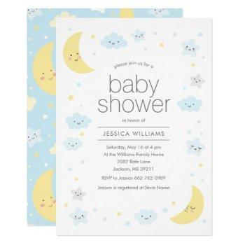 Cute Moon Clouds & Stars Baby Shower Invitation
