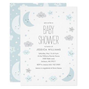 Cute Moon & Stars Frame Boy Baby Shower Invitation
