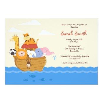 Cute Noah's Ark Gender Neutral Baby Shower Invite