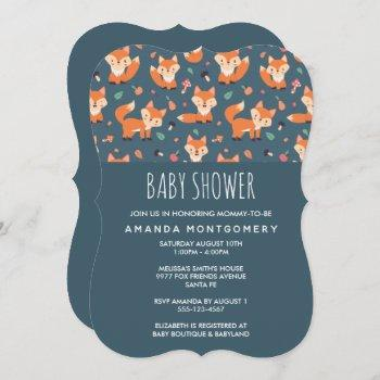 Cute Orange Fox Pattern Baby Shower Invitation