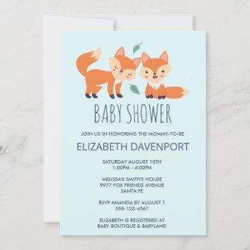 Cute Orange Foxes Baby Shower