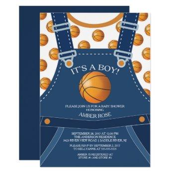 Cute Overalls Basketball Baby Shower Invitation
