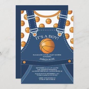 Cute Overalls Basketball Baby Shower Invitation