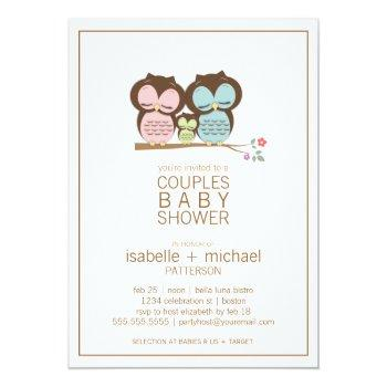 Cute Owl Family Couples Baby Shower Neutral Invitation