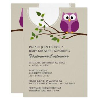 Cute Owl On Branch Baby Girl Shower Invitation