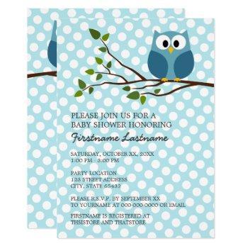 Cute Owl On Branch Light Blue Baby Boy Shower Invitation