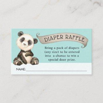 Cute Panda Baby Shower Diaper Raffle Enclosure Card