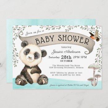 Cute Panda Bear Baby Shower Invitation