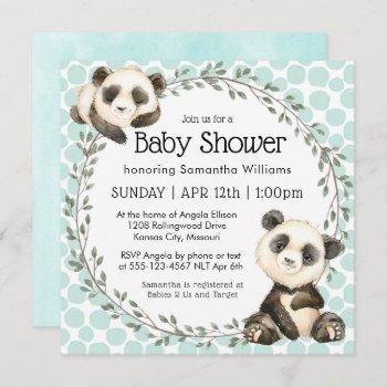 Cute Panda Bears Square Baby Shower Invitation