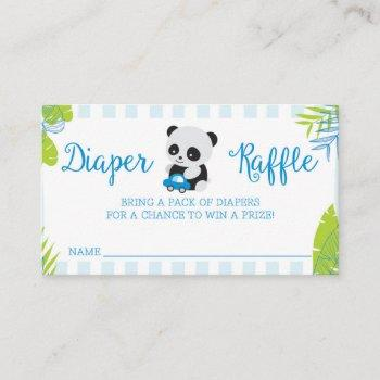 Cute Panda Boy Baby Shower Diaper Raffle Cards