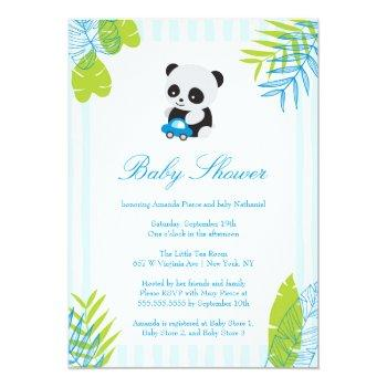 Cute Panda Boy Baby Shower Invitation