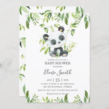 Cute Panda Greenery Baby Shower Gender Neutral Invitation