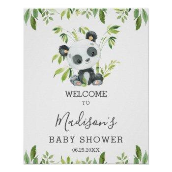 Cute Panda Greenery Baby Shower Neutral Welcome Poster