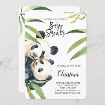 Cute Panda Mom & Baby Eucalyptus Baby Shower Invitation