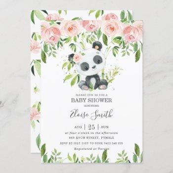 Cute Panda Pink Floral Greenery Baby Shower Girl Invitation
