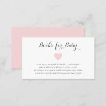 Cute Pastel Pink Heart Girl Books For Baby Enclosure Card