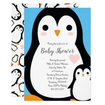 Cute Penguin Baby Shower Blue Boy Invitation