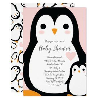 Cute Penguin Baby Shower Pink Girl Invitation
