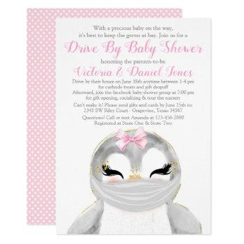 Cute Penguin With Mask Drive By Baby Shower Invitation