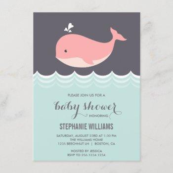 Cute Pink Baby Whale Baby Shower Invitations