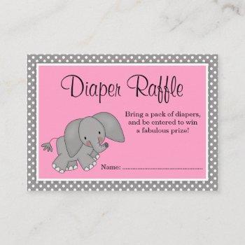 Cute Pink Elephant Baby Shower Diaper Raffle Enclosure Card