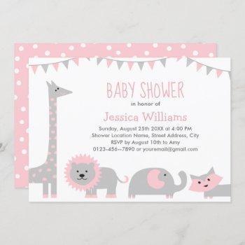 Cute Pink Gray Animals Baby Shower  Girl