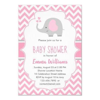 Cute Pink Gray Elephant Girl Baby Shower Invitation