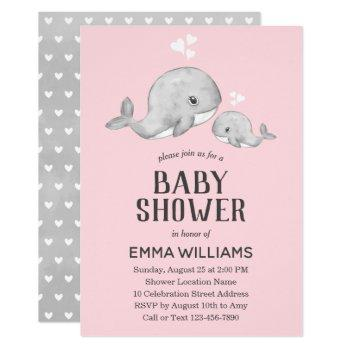 Cute Pink Gray Whale Baby Shower Invitation - Girl