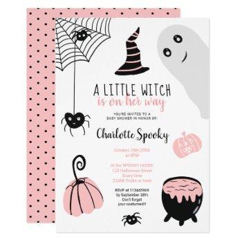 Cute Pink Halloween Illustrations Girl Baby Shower Invitation
