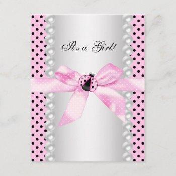 Cute Pink Ladybug Baby Shower Invitation