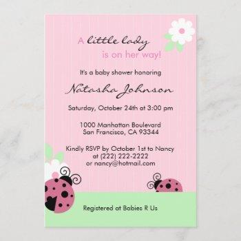 Cute Pink Ladybug Mint Girl Baby Shower Invites