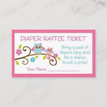 Cute Pink Owl Diaper Raffle Enclosure Card