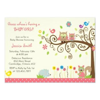 Cute Pink Owl Girl Baby Shower Invitation