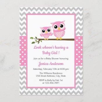 Cute Pink Owl Gray Chevron Girl Baby Shower Invitation