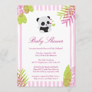 Cute Pink Panda Girl Baby Shower Invitation