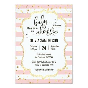 Cute Pink White Stripes Gold Black Baby Shower Invitation