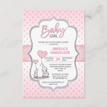 Cute Polka Dot Pink Grey Elephant Baby Shower Girl Invitation