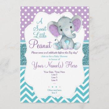 Cute Purple Teal Elephant  Baby Shower