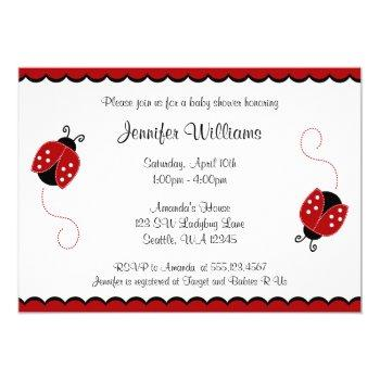 Cute Red And Black Ladybugs Baby Shower Invitation