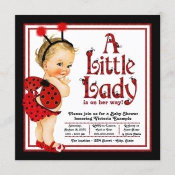 Cute Red Black Ladybug Baby Shower Invitation