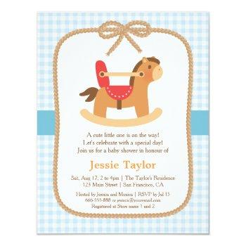 Cute Rocking Horse Baby Shower Invitations