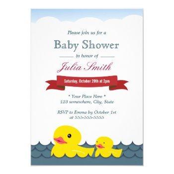 Cute Rubber Ducks Baby Shower Invitation