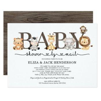Cute Rustic Safari Animals Baby Shower By Mail Invitation