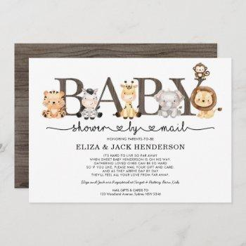 Cute Rustic Safari Animals Baby Shower By Mail Invitation