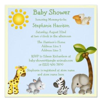 Cute Safari Animals Baby Shower Invitation