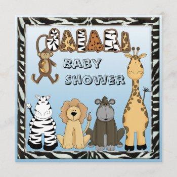 Cute Safari Animals Blue Baby Boy Shower Invitation