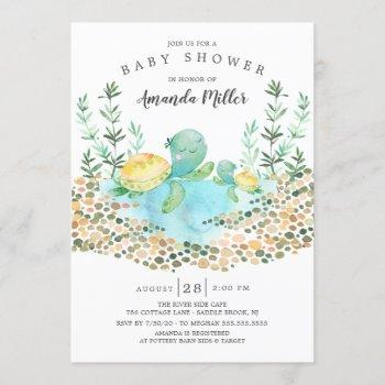 Cute Sea Turtle Ocean Baby Shower Invitation