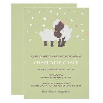 Cute Sheep And Lamb Personalized Baby Shower Invitation