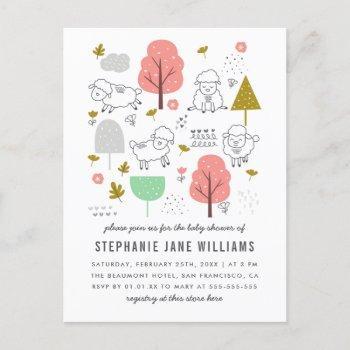 Cute Sheep Baby Girl Shower Postcard Invitation